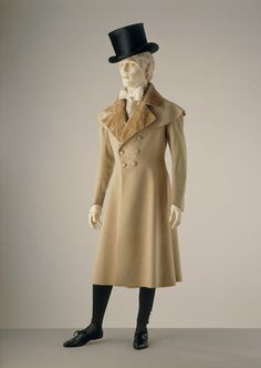 1820-1830, United Kingdom - Frock coat - Wool, trimmed with silk velvet, lined with silk, hand-sewn & 1820-1830, United Kingdom - Pantaloons - Machine knitted silk, handsewn