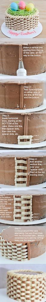 How To Do Basket Weave with Icing on a Cake - Beki Cook's Cakes Blog  http://bekicookscakesblog.blogspot.com/2013/03/how-to-make-basket-cake-video.html