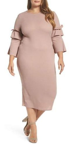 c966be5224a29 LOST INK Ruffle Body-Con Midi Dress  ad Midi Dress Plus Size