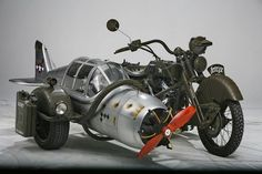 Army sidecar made from a WWII German fighter plane and Yamaha Wild Star motorcycle by Henrix westernfarm