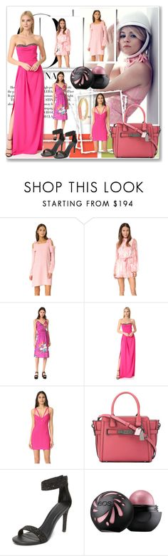 """""""Sizzle in Pink!!"""" by stylediva20 ❤ liked on Polyvore featuring Amanda Uprichard, Zimmermann, Marc Jacobs, Notte by Marchesa, Hervé Léger, Coach, Joie and Nora Kogan"""