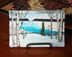 Original Mini Art Quilt Wall Hanging Fiber Art Winter Scene | Etsy Fiber Art Quilts, Thread Painting, Fabric Markers, Quilted Wall Hangings, Quilted Pillow, Pillow Forms, Quilt Bedding, Winter Scenes, Quilting Projects