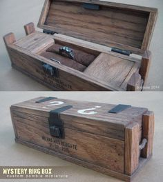 COD Zombies - Mystery Wedding Ring Box - Custom by faustdavenport. I would die XD Zombies Black Ops, Call Of Duty Perks, Cod Zombies, Arte Zombie, Call Of Duty Zombies, Call Of Duty Black, Cool Knives, Wedding Ring Box, Mystery Box