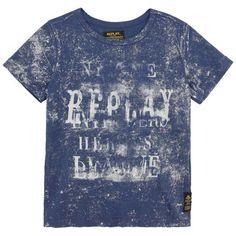 ReplaySons Blue T-shirt with logo print Blue - 68944 | Melijoe.com