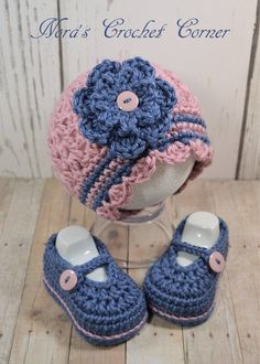Girl Hat and Shoes, Crochet Baby Girl Hat and Shoes Crochet Baby image 2 Crochet Baby Blanket Beginner, Baby Girl Crochet, Crochet Baby Clothes, Crochet Baby Shoes, Crochet Beanie, Crochet For Kids, Baby Girl Sweaters, Baby Girl Hats, Girl With Hat