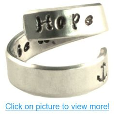 Personalized Ring - Hope - Adjustable Hand Stamped Hammered Aluminum Anchor Rings, Bracelet Quotes, Grandmother Gifts, Copper And Brass, Personalized Rings, Stamped Jewelry, Sister Gifts, Groomsman Gifts, Jewelry Stores