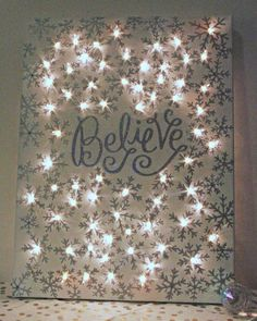 Christmas DIY: how to make a lighte how to make a lighted christmas canvas christmas decorations crafts fireplaces mantels seasonal holiday decor Christmas Canvas, Noel Christmas, All Things Christmas, Christmas Lights, Christmas Greetings, Handmade Christmas, Holiday Canvas, Lighted Christmas Pictures, Christmas Wreaths