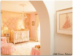 glam nursery pink and gold http://littlecrowninteriors.com/blog/wp-content/uploads/2012/08/Nursery-with-AFK-Cherbuini-Crib.jpg