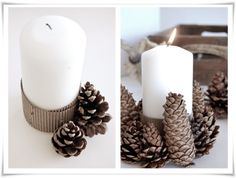 pretty pine cone candle holders