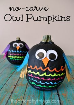 Kids will love making these colorful No-Carve Owl Pumpkins. They make a fabulous fall and Halloween decoration.