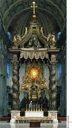 The Baldachin by Bernini. The piece behind the alter is his too and represents the Holy Spirit. Amazing how it glows. St Peter is buried under the alter along with many other Bishops of Rome, Popes.