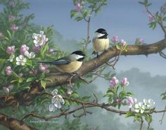 Chickadees and Apple Blossoms          (48 pieces)