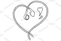Doodle earphones love music vector by Art By Silmairel on @creativemarket