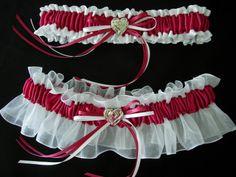 Burgundy with White satin and organza bridal garter set.