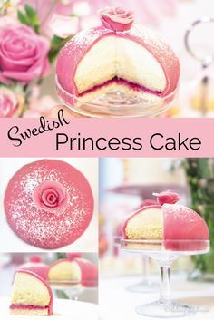 Marzipan cake from Sweden: Princess cake filled with vanilla cream, raspberries and whipped cream and decorated with marzipan