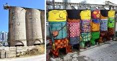 Twin brothers and Brazilian artists Octavio and Gustavo Pandolfo, known together as Os Gemeos, just finished their latest project – a colossal mural covering six industrial silos on Granville Island in Vancouver, Canada. The mural, which is part of the Vancouver Biennale, depicts six vividly colored 70 foot (23 meter) tall characters.