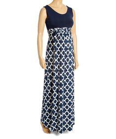 Look at this #zulilyfind! Navy & White Empire-Waist Maternity Maxi Dress - Plus Too #zulilyfinds