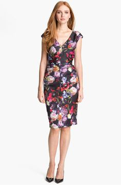 Ten Gorgeous Wedding Guest Dresses - fall floral jersey sheath dress
