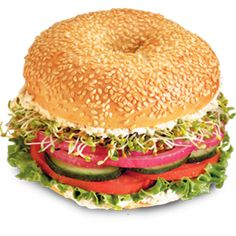 Veg Out® on Sesame Bagel at Einstein's in PCV! Sesame bagel, garden veggie schmear, lettuce, tomato, cucumber, red onions and sprouts! YUM!    I like this bagel sandwich except I like it with the pine nut spread instead, SO yummy!!