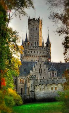 Marienburg Castle in Pattensen, Germany. King George V of Hanover gave the Marienburg castle of Queen Marie on her 39th birthday and it was built from 1857 to 1867 as a summer residence and hunting lodge . Queen Marie and her daughter Mary lived in the castle in the years 1866 to 1867. After their departure into exile the castle for almost 80 years was inhabited only by the caretaker .