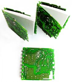 "Upcycled Notebook ""Leiterplatte"" (Conductor Board) (serrated) by TRASH DESIGN | SOURCE: http://www.trashdesign.at/accessoires/notizbuch/notizbuch-leiterplatte-gezackt/a-212/"