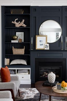 34 Trendy Black And White Furniture Living Room Built Ins Bookshelves Around Fireplace, Built In Around Fireplace, Fireplace Built Ins, Black Fireplace, Bookshelves Built In, Painted Built Ins, Built In Shelves Living Room, White Built Ins, Black And White Furniture