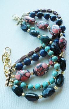 Chunky bracelet stone multistrand cuff bracelet by AJBcreations, $55.00