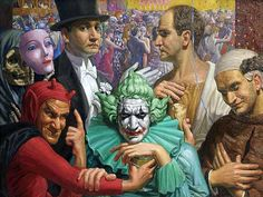 Masks by Cesare Sofianopulo (Italian), oil on canvas, genre: Magic Realism, 1930 Magic Realism, Realism Art, George Grosz, Degenerate Art, Joker, Mark Ryden, Send In The Clowns, Russian Painting, Harlem Renaissance