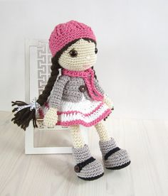 PATTERN: Doll Girl in a dress jacket boots and por KristiTullus