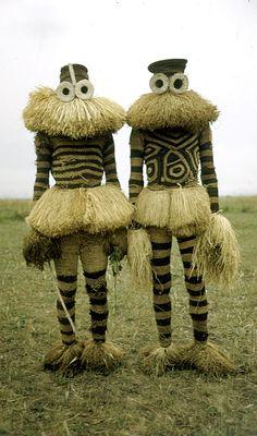 Africa | Minganji masqueraders from the Pende people.  Near Gungu, Democratic Republic of Congo. 1951 | ©Eliot Elisofon