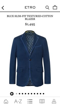 Etro - Blue Slim-Fit Textured-Cotton Blazer   MR PORTER https://www.mrporter.com/product/897196