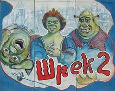 Illustrated Movie Poster from Russia Shrek 2