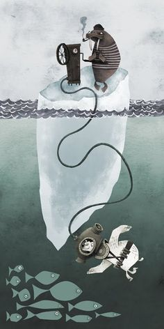 Deep Sea Diving with Iceberg Walrus - by Matt Dawson -- (ocean, sea, art, illustrations)