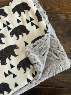 Geo Bears minky blanket faux fur double cuddle by TheCoralCottage