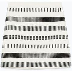 Zara Striped Jacquard Skirt ($20) ❤ liked on Polyvore featuring skirts, bottoms, faldas, white knee length skirt, stripe skirt, striped skirt, jacquard skirt and zara skirts