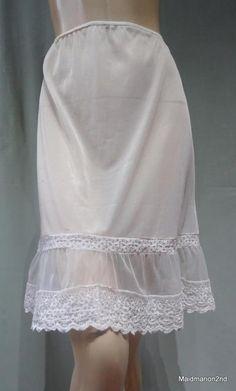 2b1629c5d7 Details about Vintage Lorraine Half Slip Skirt Petticoat White Nylon NOSWT  1960s Lace Trim Sm