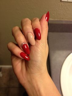 Red, tan round nails