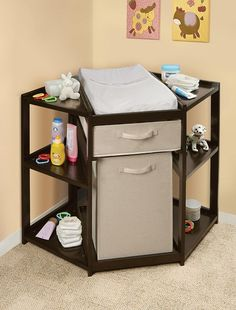 Espresso Diaper Corner Baby Changing Table with Hamper and Basket   www.OrganizeWithFlair.com