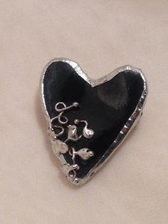 Black Porcelain Ceramic Heart Brooch Metal Soldered Frame Vines