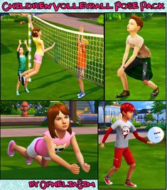 Children Volleyball Pose PackBy request I've made this new pose pack! 6 single poses: - You need Andrew's Pose Player and Teleport Any Sim mods; - Place the statue where you want to see your sim; - You can use the volleyball. Sims 4 Mods Clothes, Sims Mods, The Sims, Volleyball Poses, 4 Kids, Children, Kids Sports, Back To School, Packing