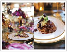 Modern Glam Thankgiving Decor Inspiration by www.alchemyfineevents.com Liberty Farms Duck Conserva gingerbread polenta and braised chicory and sour cherry sugo