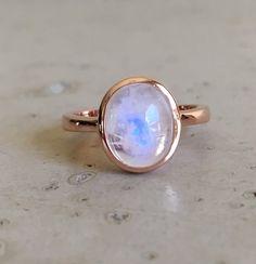 Oval Moonstone Ring June Birthstone Ring Gemstone Ring by Belesas