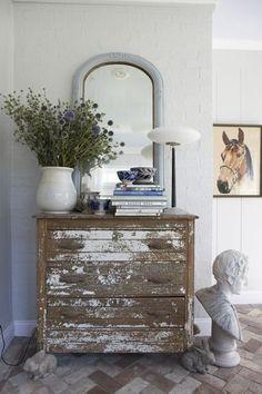 Chippy paint, mirror, lamp...