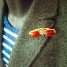 Glasses Brooch antique vintage styled, bridesmaid, rhinestone diamante, wedding, mothers gift, men lapel, enamel, hijab #5121