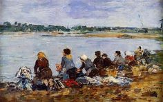Laundresses on the Banks of the Touques - Eugene Boudin  ..Completion Date: c.1895