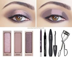 Place Blackheart on the inner corner, Buzz in the middle and Nooner on the outer corner. Blend the colors. Using Blackheart, go over Nooner on the outer corner until you achieve the desired intensity, keep blending. Line the bottom lashline with Blackheart. waterline with Urban Decay eyeliner in Rockstar (a deep black/purple). With your finger, dab the shimmery Buzz color to the middle of the eyelid to make this color pop. Draw a thin line along the upper lashline with liquid liner.