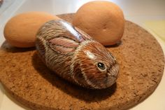 Handpainted Brown Rabbit Pet Rock by DeRocs on Etsy