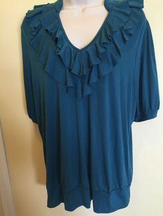 Women's Fashion Bug Size 14 / 16 W Blouse Short Sleeve Teal Color EUC…
