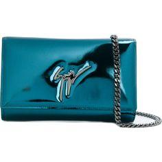 Giuseppe Zanotti Design The Signature clutch (21035 TWD) ❤ liked on Polyvore featuring bags, handbags, clutches, blue, chain handle handbags, metallic handbags, metallic purse, giuseppe zanotti and chain-strap handbags