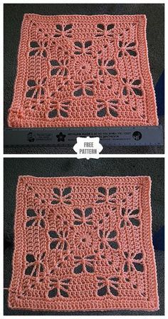 Crochet Squares Afghan, Crochet Blocks, Granny Square Crochet Pattern, Afghan Crochet Patterns, Crochet Motif, Knitting Patterns, Free Crochet Square, Granny Squares, Granny Square Afghan